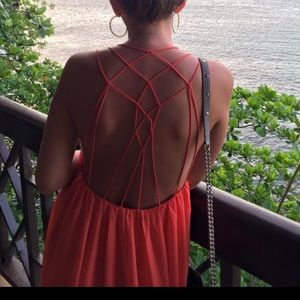 Open back orange maxi dress